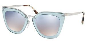 Prada PR 53SS VYS5R0 GRAD LIGHT BLUE MIRROR SILVERTRANSPARENT AZURE